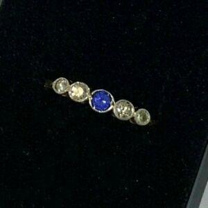 Beautiful 1920s Antique 18ct Gold Platinum Diamond and Cornflower Sapphire Ring