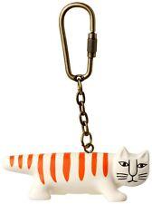 Lisa Larson Collectible Necono Orange Stripe Cat PVC Keychain Key Ring