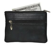 COIN PURSE MINI WALLET KEYS 2 POCKETS NEW BLACK LEATHER GREAT GIFT IDEA