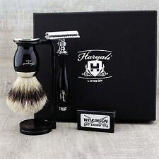 Brocha de Afeitar Conjunto de aletas plateadas & Safety Razor Clásico Grooming Kit de regalo para él