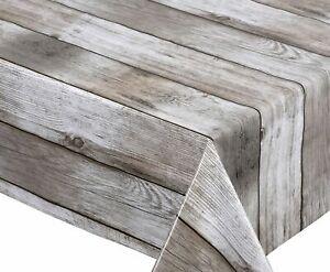 Wachstuchtischdecke Holz beige abwischbar Garten Tischdecke RUND OVAL ECKIG