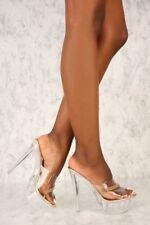 Stripper Exotic Dancer Slip On Lucite Clear High Stilettos Heels Platform H194