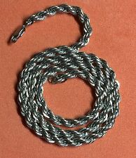 "Long and Heavy Sterling 925 Silver Twist Rope 5mm 18""Chain/necklace. 35Grams"