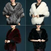 6 Colors! Womens Ladies Faux Fur Wraps Bridal Wedding Evening Shawl Shrug Cape