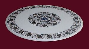 """36"""" White Marble Center Coffee Table Top Marquetry Turquoise Floral Inlay Art"""
