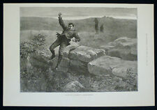 CONVICT PRISONER ESCAPING FROM DARTMOOR PRISON / BREAKING VICTORIAN PRINT 1884
