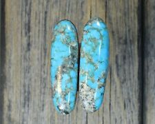 Turquoise cabochon Kingman  mine cab Earring set  Unique  ,F-38