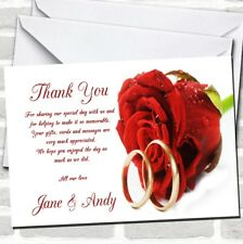 Red Romantic Rose Wedding Rings Wedding Thank You Cards