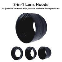 67mm Rubber Collapsible Lens Hood 3-in-1 Wide Normal Tele Camera DSLR Lenshood