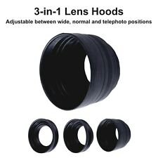 49mm Rubber Collapsible Lens Hood 3 in 1 Wide Tele Reverse Camera DSLR Lenshood