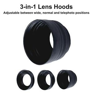 77mm Rubber Collapsible Lens Hood 3 in 1 Wide Normal Tele Camera DSLR Lenshood