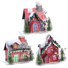 Putz House Ornaments w Lights Set 3 RAZ Christmas rzchtw 3512507 NEW