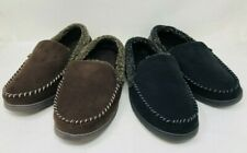 Dearfoams Men's Microsuede Whipstitch Clog Slippers Black-Cofee, Pre-owned