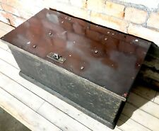 Vintage Wooden Old Deep Red Topped Chest Case Trunk