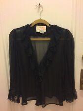 Vintage MISS O i.magnin OSCAR DE LA RENTA 100% Silk Black Lace Blouse Lingerie