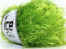 Lime Green Eyelash Yarn Ice Bright Green Fun Fur 22786 50 gram