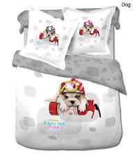 Toddler Bedding Cute Twin 100% Cotton Duvet Cover Set by Le Vele Dog LE454T