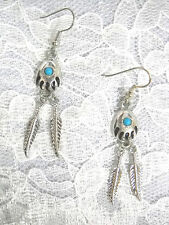 DREAMCATCHER SPIRIT BEAR CLAW / BEAR PAW 2 FEATHERS & BLUE GEM DANGLING EARRINGS