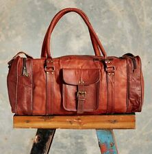 NEW Men's genuine Leather luggage gym weekend overnight duffle bag large vintage