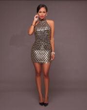 Sexy Women Bodycon Evening Party Cocktail Short Mini Dress Halter Sequins Dress