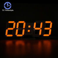 3D LED Digital Wall Clock Modern Snooze 12/24 Hour Display Table Alarm Clock