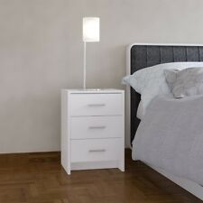 Bedside Table White 3 Drawer Bedside Cabinet Night Stand Metal Runners
