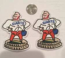 """(2)-New York Giants Vintage Rare Embroidered Iron On Patches. 3.5 X 2.5"""""""