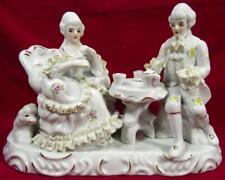 French Style Porcelain Statue Lady Gentleman 1950 - 60s Japan 16 x 23.5 x 11 cm