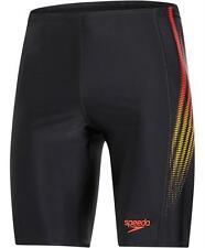 Speedo Placement Panel Jammer Mens Swim Shorts Black Red