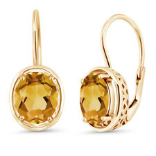 3.00 Ct Oval Yellow Citrine 18K Yellow Gold Plated Silver Dangle Earrings