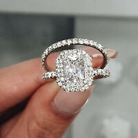 2.50Ct Emerald Diamond Wedding Band Bridal Set Engagement Ring 14k White Gold FN