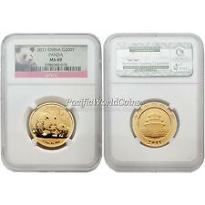 China 2011 Panda 200 Yuan 1/2 oz Gold Coin NGC MS 69