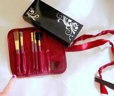 Avon Holiday Makeup Set of 5 Brushes in Burgundy Velvetine Case - New in Box!