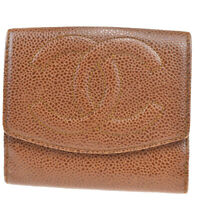 Auth CHANEL CC Bifold Wallet Purse Caviar Skin Leather Brown Vintage 67MB024