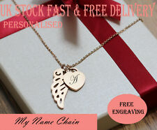 cd680ad4d Personalised Heart Guardian Angel Wing Engraved Name Necklace Rose Gold  Plated