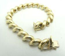 "14K Yellow Gold 9mm Smooth & Brushed San Marco Link Bracelet 7"" 15.8g D7274"