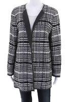 Lafayette 148 New York Womens Woven Open Jacket White Gray Size 14