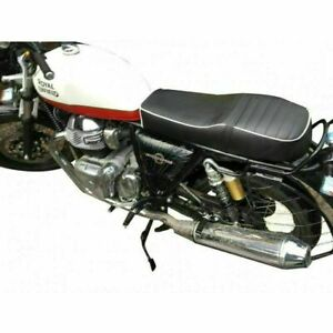 Royal Enfield Interceptor 650 Custom Made Leatherette Touring Seat White piping