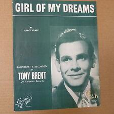 song sheet GIRL OF MY DREAMS Tony Brent