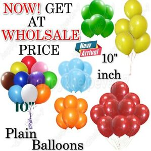 "100 LARGE PLAIN 10"" BALLOONS BALLONS helium BALLOONS Quality Bday Wedding BALOON"