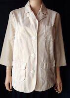NWT Old Navy Maternity Khaki/White Striped Cotton Jacket Blazer Size Large L