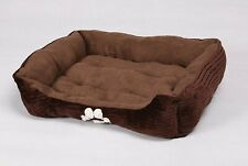 Long Rich Reversible Rectangle Pet Bed Dog Bed with Dog Paw Embroidery,Medium