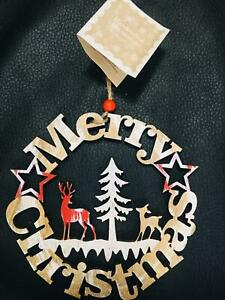 Merry Christmas wooden Reindeer Hanging Plaque sign Vintage Xmas Decorations