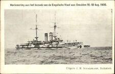 Dutch Netherlands Navy Battleships Ijmuiden august 1905 Postcard #2