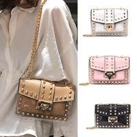 Women's Ladies Fashion Rivet Diagonal Package Transparent Shoulder Bag Chain Bag
