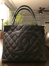 Authentic CHANEL black caviar leather quilted medallion tote bag