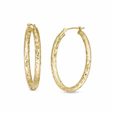 Eternity Gold Oval Tube Hoop Earrings in 14K Gold Plating Over Sterling Silver