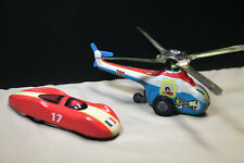 Vintage Tin Toys - Helicopter #705 China T3331 and Schylling Tin Race Car USA