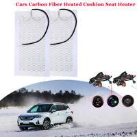 2X 12V Universal Kohlefaser 2-Sitz beheizte Sitzheizung für Auto rund Schalter