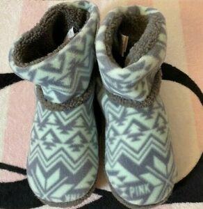 Victoria's Secret Pink Mint Green Gray Aztec Sherpa Bootie Slippers - M (7-8)